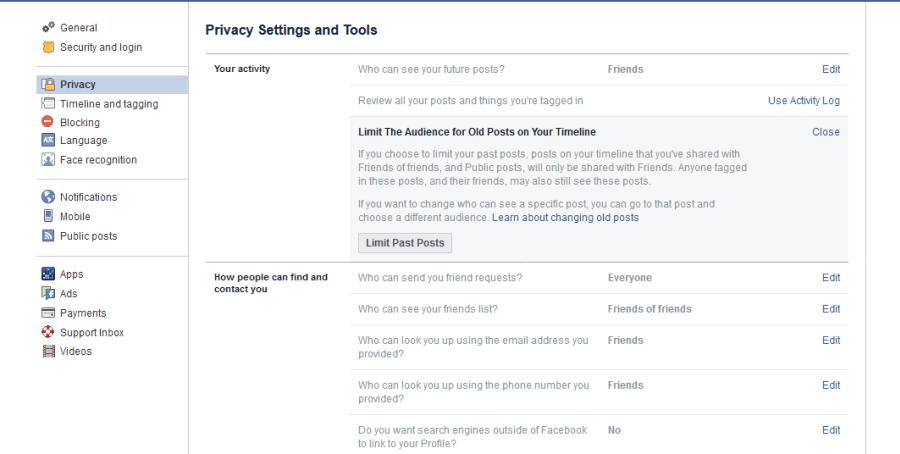 Einstellungen posten Facebook