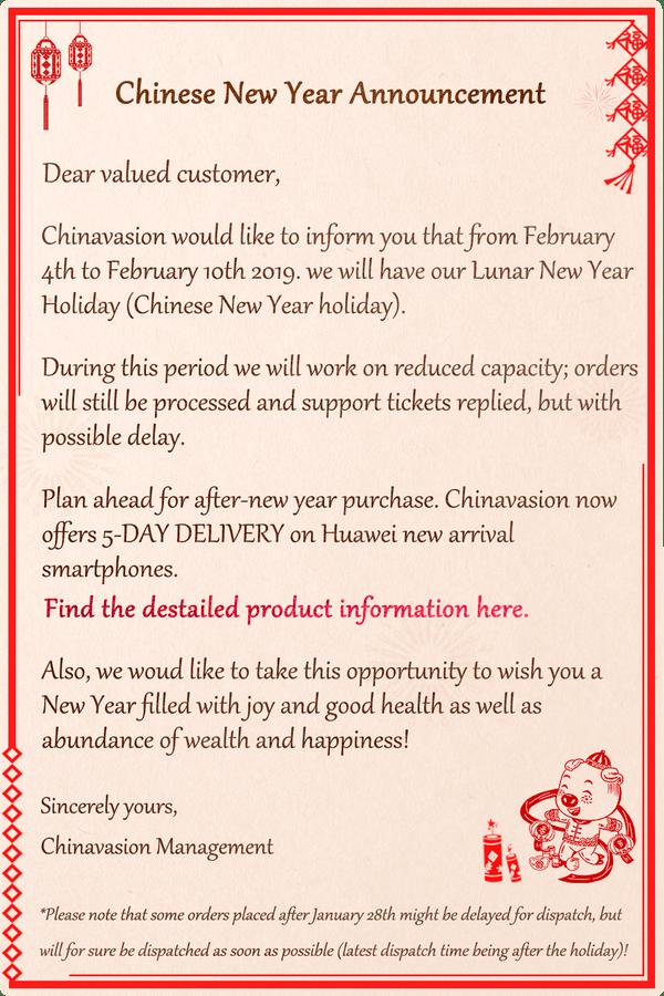 Chinesische Neujahrskündigung