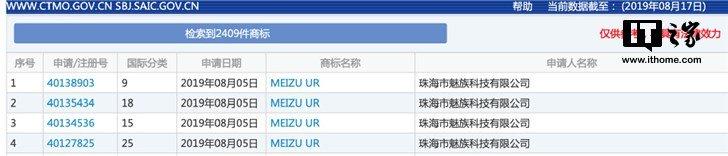 Meizu UR Markenanmeldung