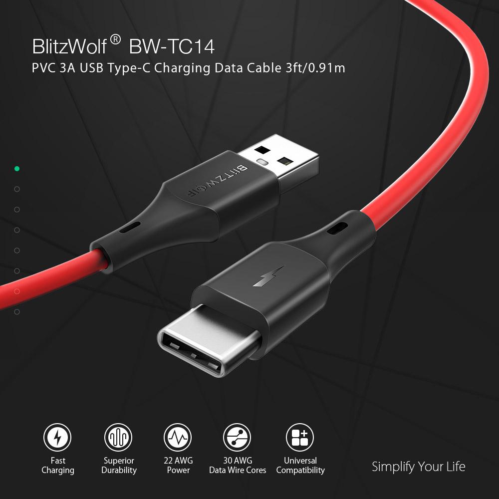 BlitzWolf BW-TC14 3A USB-Ladedatenkabel Typ C