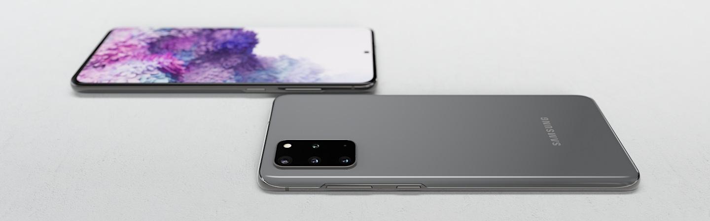 Drei Grey Galaxy S20 + -Geräte, eines verdeckt, das daneben offen und eines aufrecht stehend.