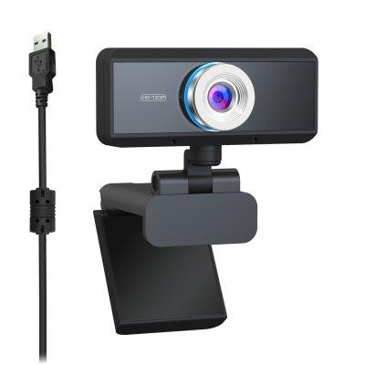 HD Webcam 1080P Eingebautes Mikrofon 180 Grad einstellbare Video Web Cam schwarz
