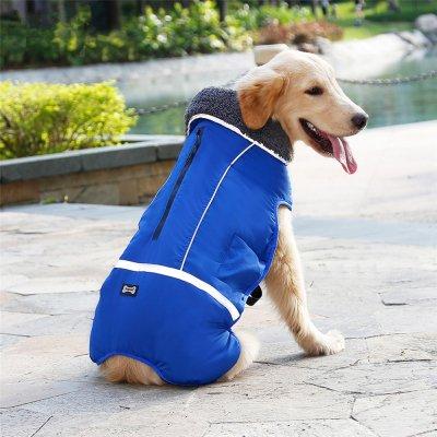 Winter wasserdichte Outdoor Haustier Hund Jacke reflektierende verdicken warme Mantel Hundekleidung blue_XXL
