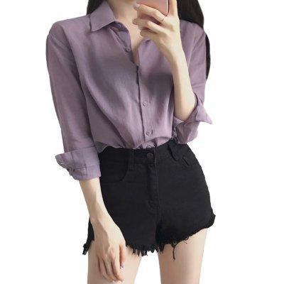 Frauen Bluse Revers Shirt Langarm Lila Lässig Lose Base Shirt Tops lila_2XL