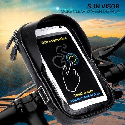 6,0 Zoll wasserdicht Fahrrad Fahrrad Handyhalter Stand Motorrad Lenker Halterung Tasche für iPhone X Samsung LG Huawei schwarz