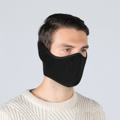 Winter Outdoor Skimaske Radfahren Warme Reitmaske Kopfbedeckung Winddichte Maske Ohrmaske schwarz_Kostenlose Größe