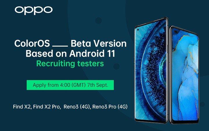 OPPO Find X2 Pro Reno 3 Pro Android 11 Beta-Rekrutierung 7. September