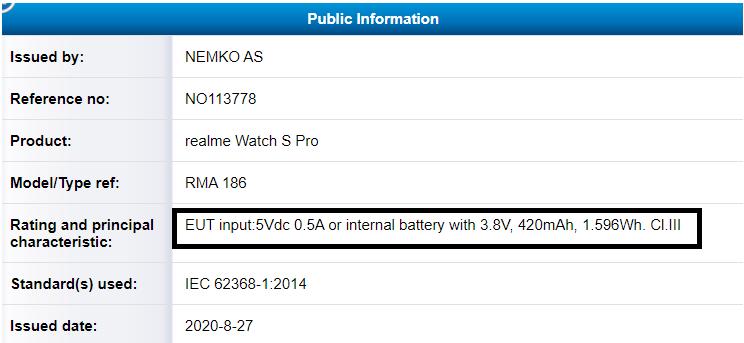 Realme Watch S Pro-Zertifikat