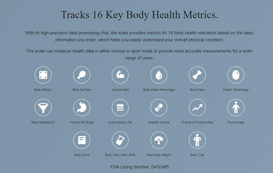 Amazfit Smart Scale Körpergesundheitsmetriken