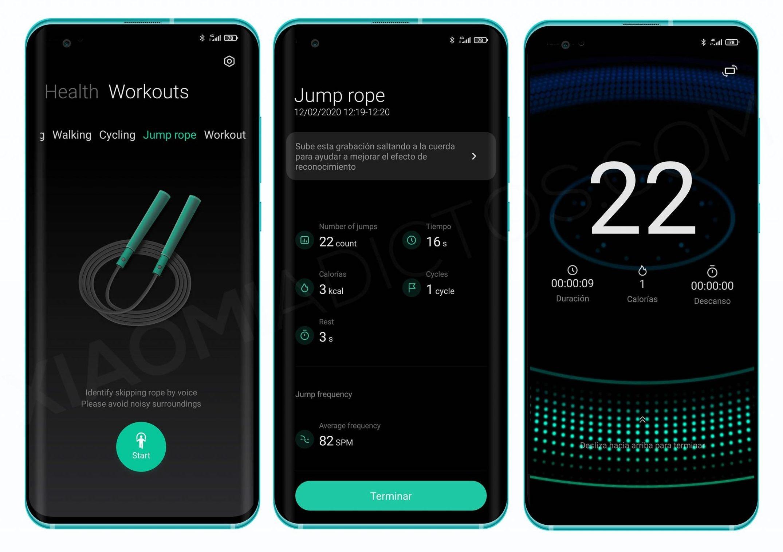 Ahora la aplicación Salud de Xiaomi permite monitorizar salto de comba (Descarga). Noticias Xiaomi Adictos