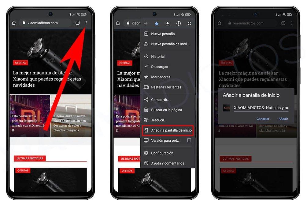Erstellen Sie eine Verknüpfung Website Startbildschirm Android Xiaomi. Nachrichten Xiaomi Addicts